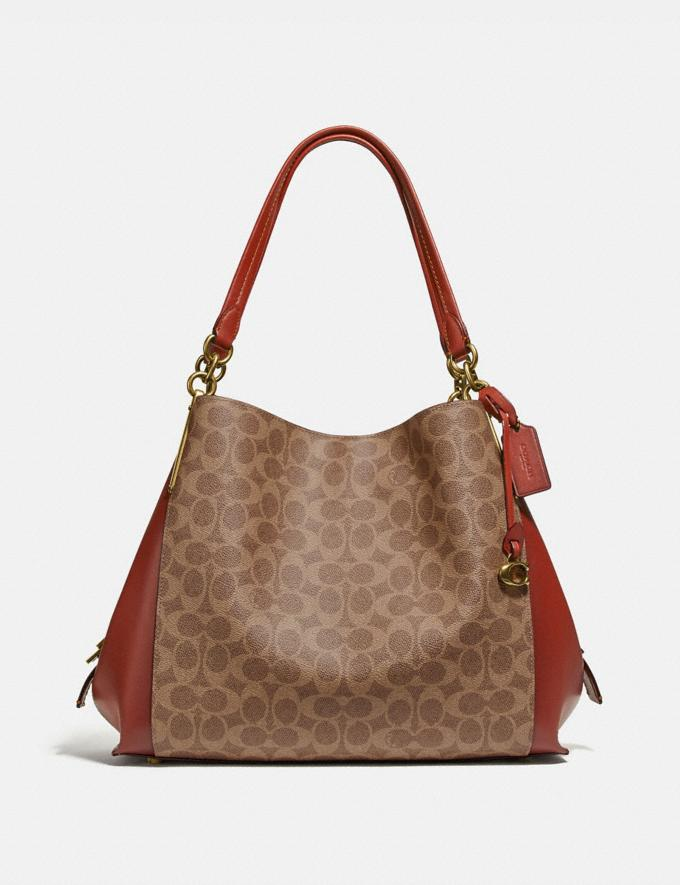 Coach Dalton 31 in Signature Canvas Tan/Rust/Brass Bags Collection Dalton