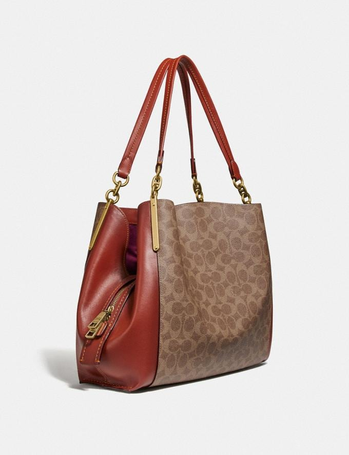 Coach Dalton 31 in Signature Canvas Tan/Rust/Brass Bags Collection Dalton Alternate View 1
