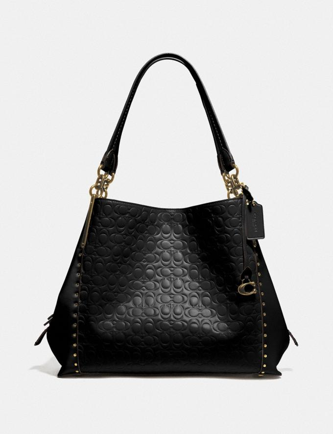Coach Dalton 31 in Signature Leather With Rivets Black Women Bags Signature Bags