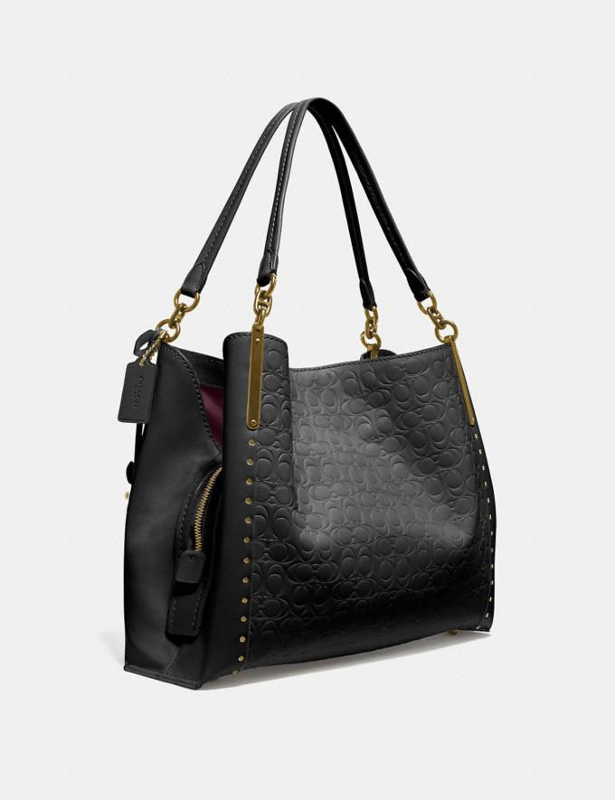 Coach Dalton 31 in Signature Leather With Rivets Black Women Bags Signature Bags Alternate View 1