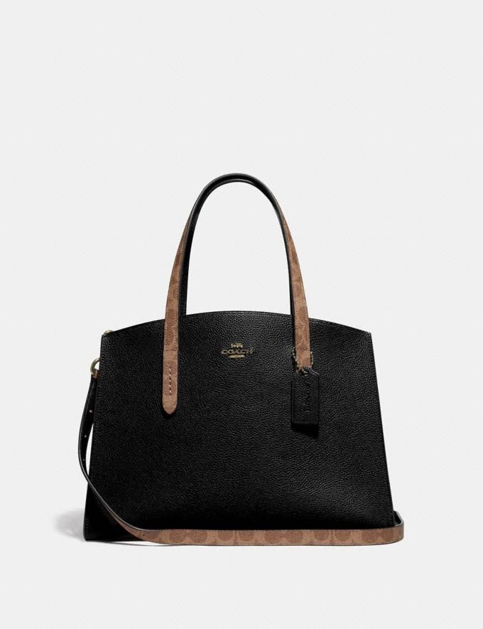 Coach Charlie Carryall With Signature Canvas Blocking Black Women Bags Satchels