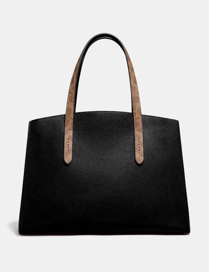 Coach Charlie Carryall With Signature Canvas Blocking Black Women Bags Satchels Alternate View 2