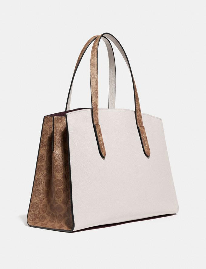 Coach Charlie Carryall With Signature Canvas Blocking Beige Women Bags Satchels Alternate View 1