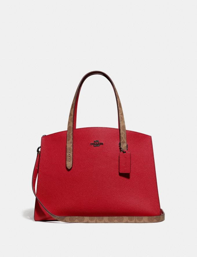 Coach Charlie Carryall With Signature Canvas Blocking Red SUMMER SALE Women's Sale Bags