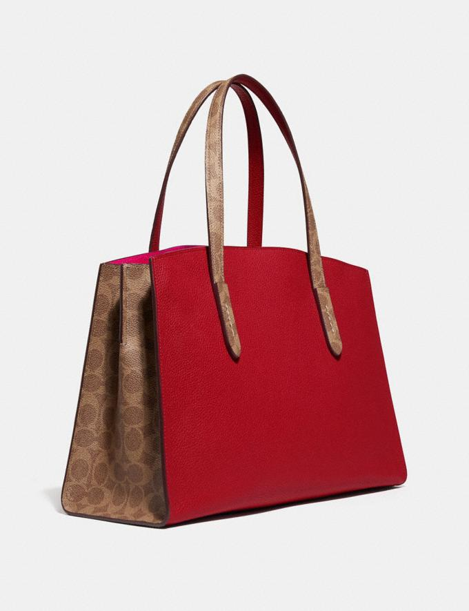 Coach Charlie Carryall With Signature Canvas Blocking Red SUMMER SALE Women's Sale Bags Alternate View 1