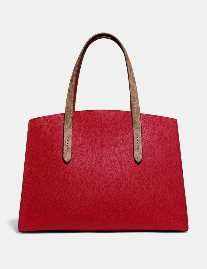 Coach Charlie Carryall With Signature Canvas Blocking Red SUMMER SALE Women's Sale Bags Alternate View 2