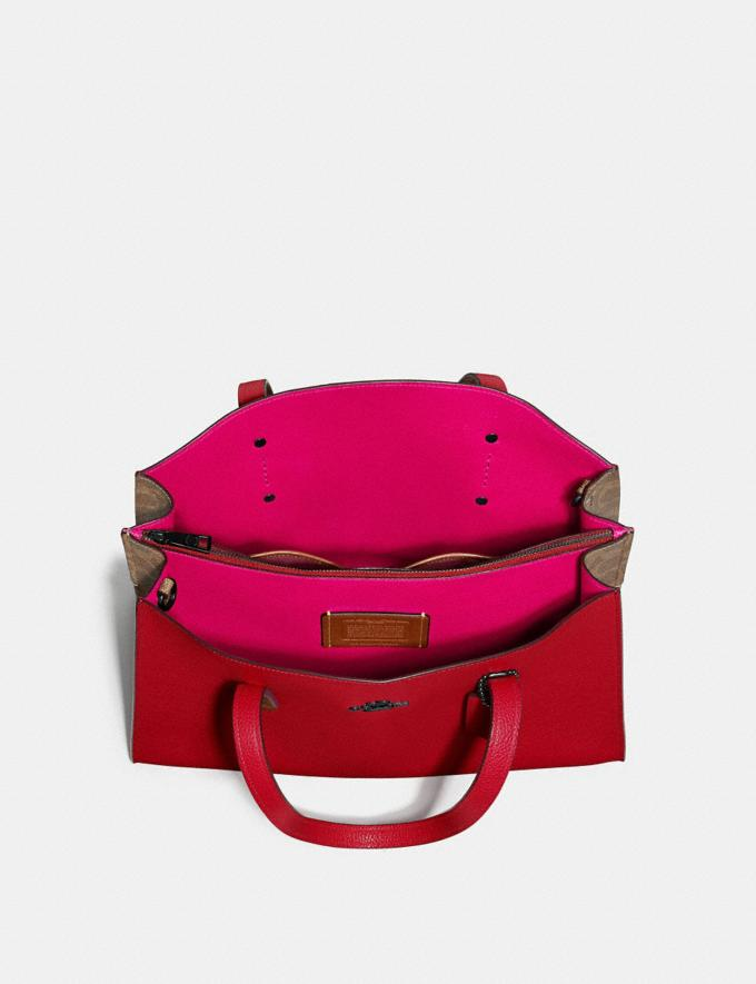 Coach Charlie Carryall With Signature Canvas Blocking Red SUMMER SALE Women's Sale Bags Alternate View 3