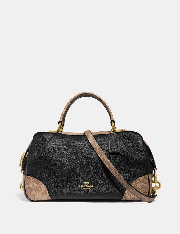 Coach Lane Satchel With Signature Canvas Blocking Black Women Bags Satchels