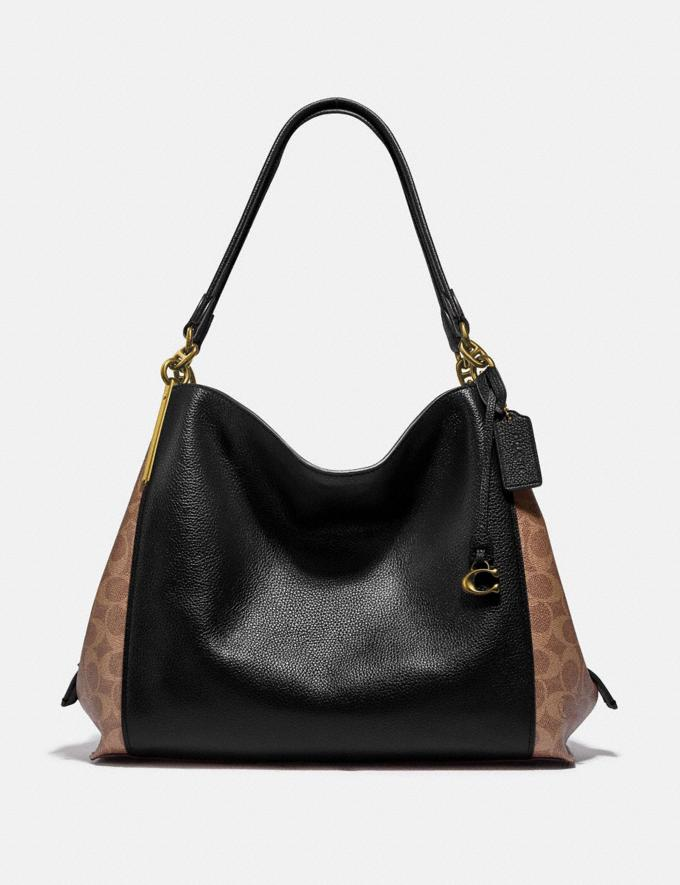 Coach Dalton 31 With Signature Canvas Blocking Tan Black/Brass Bags Collection Dalton