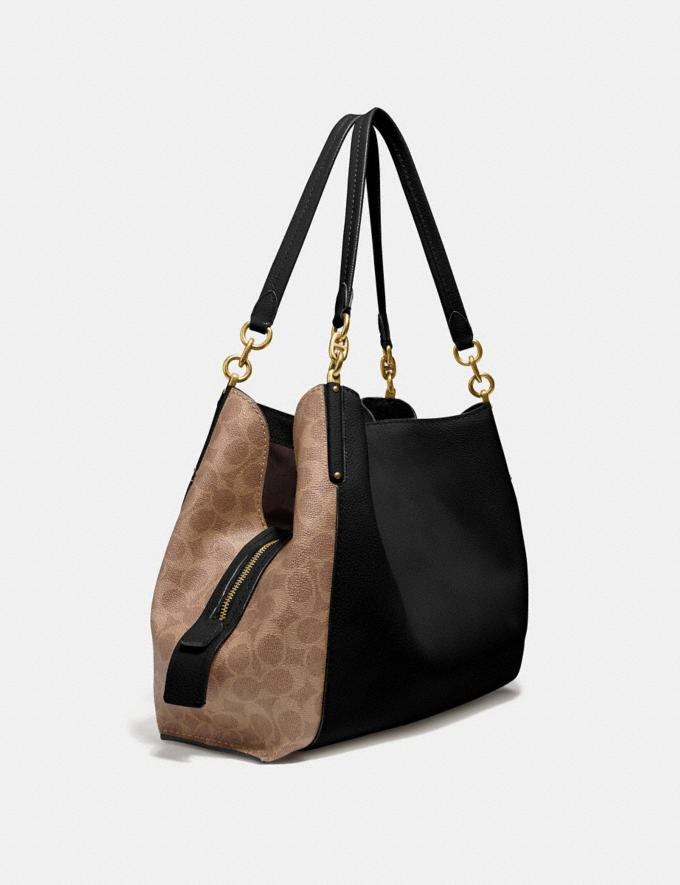 Coach Dalton 31 With Signature Canvas Blocking Tan Black/Brass Women Bags Shoulder Bags Alternate View 1