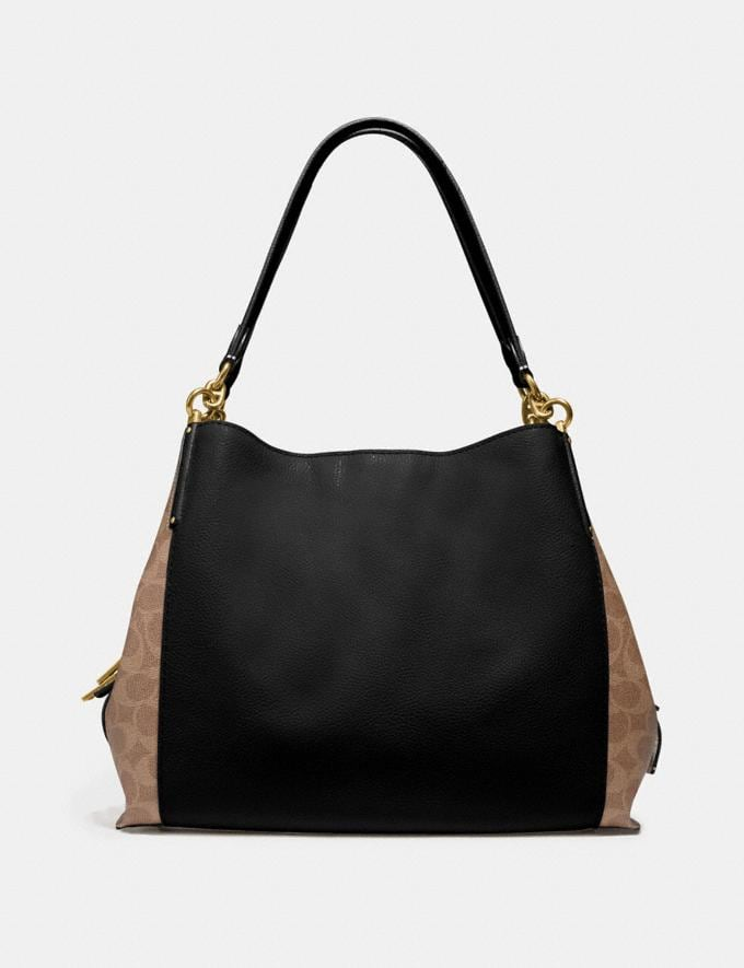 Coach Dalton 31 With Signature Canvas Blocking Tan Black/Brass Women Bags Shoulder Bags Alternate View 2