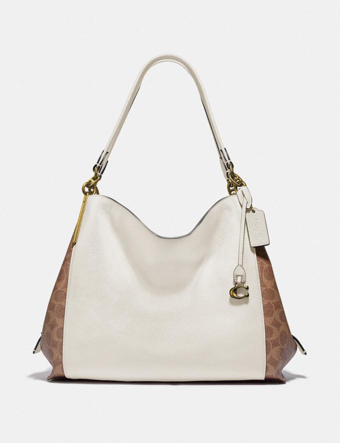 Coach Dalton 31 With Signature Canvas Blocking Tan Chalk/Brass Women Bags Shoulder Bags