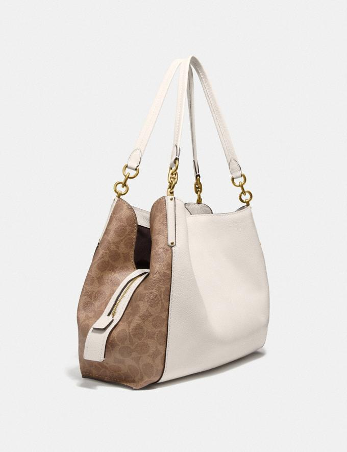 Coach Dalton 31 With Signature Canvas Blocking Tan Chalk/Brass Women Bags Shoulder Bags Alternate View 1