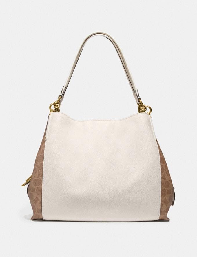 Coach Dalton 31 With Signature Canvas Blocking Tan Chalk/Brass Women Bags Shoulder Bags Alternate View 2