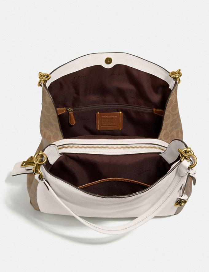 Coach Dalton 31 With Signature Canvas Blocking Tan Chalk/Brass Women Bags Shoulder Bags Alternate View 3