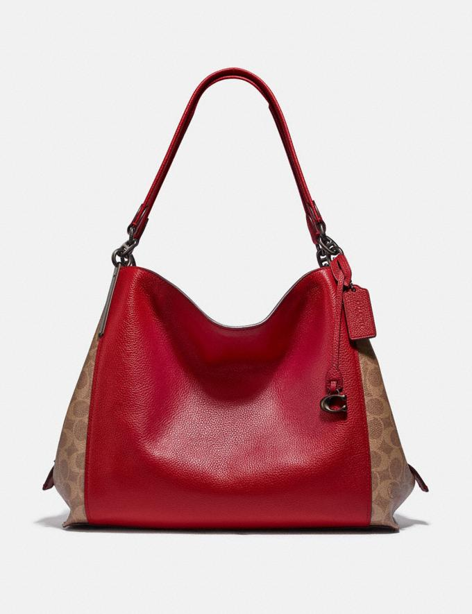 Coach Dalton 31 With Signature Canvas Blocking Pewter/Tan Red Apple Women Bags Shoulder Bags