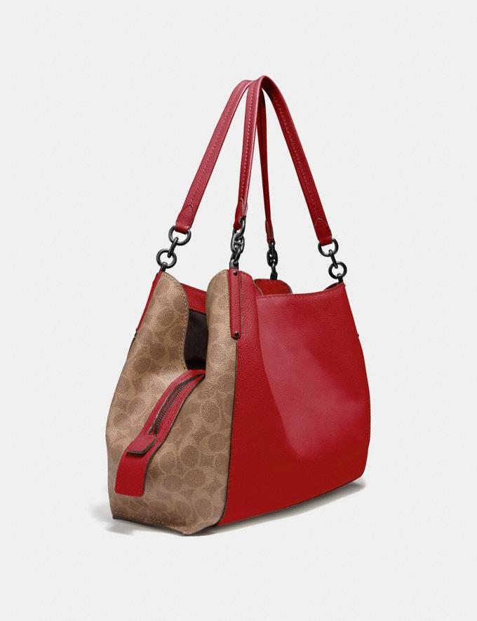 Coach Dalton 31 With Signature Canvas Blocking Pewter/Tan Red Apple Women Bags Shoulder Bags Alternate View 1