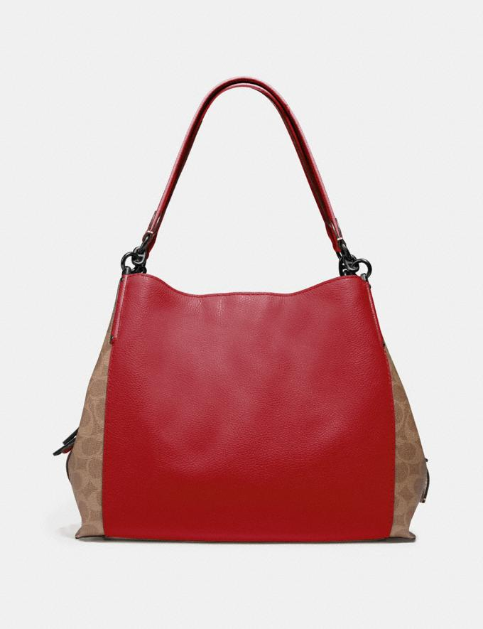 Coach Dalton 31 With Signature Canvas Blocking Pewter/Tan Red Apple Women Bags Shoulder Bags Alternate View 2