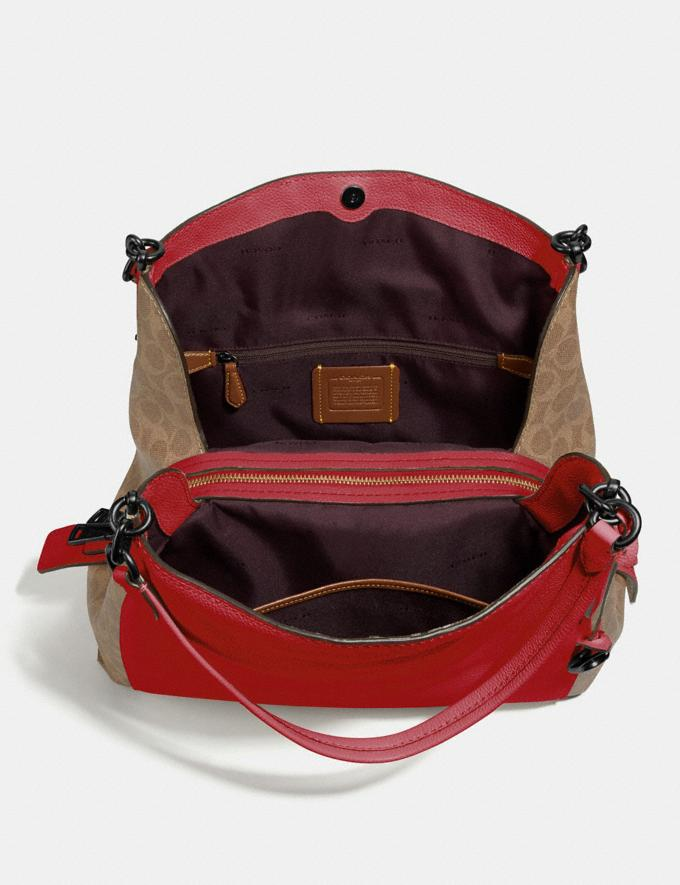 Coach Dalton 31 With Signature Canvas Blocking Pewter/Tan Red Apple Women Bags Shoulder Bags Alternate View 3