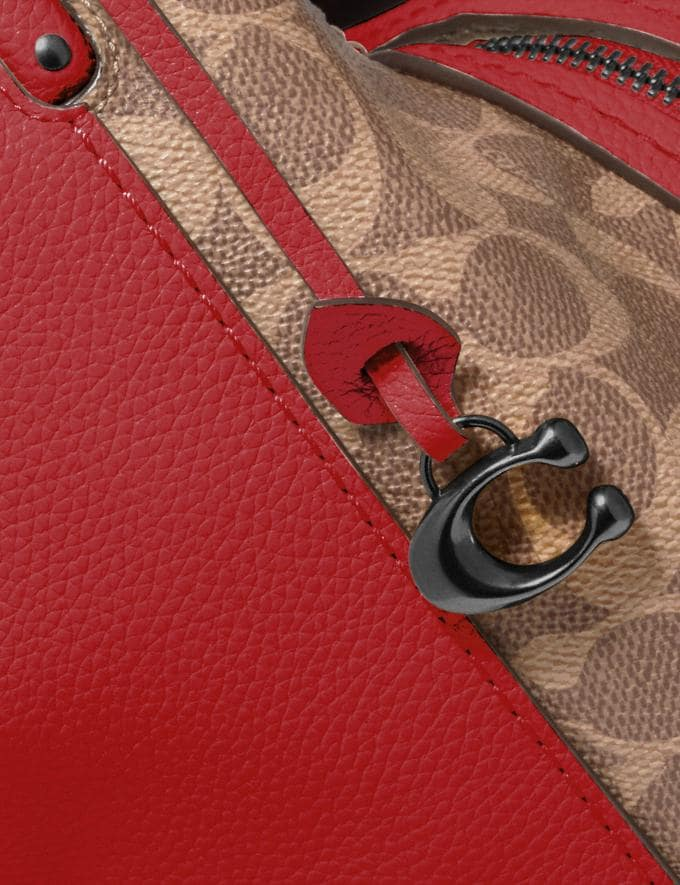 Coach Dalton 31 With Signature Canvas Blocking Pewter/Tan Red Apple Cyber Monday Online Only Cyber Monday Sale Bags Alternate View 5