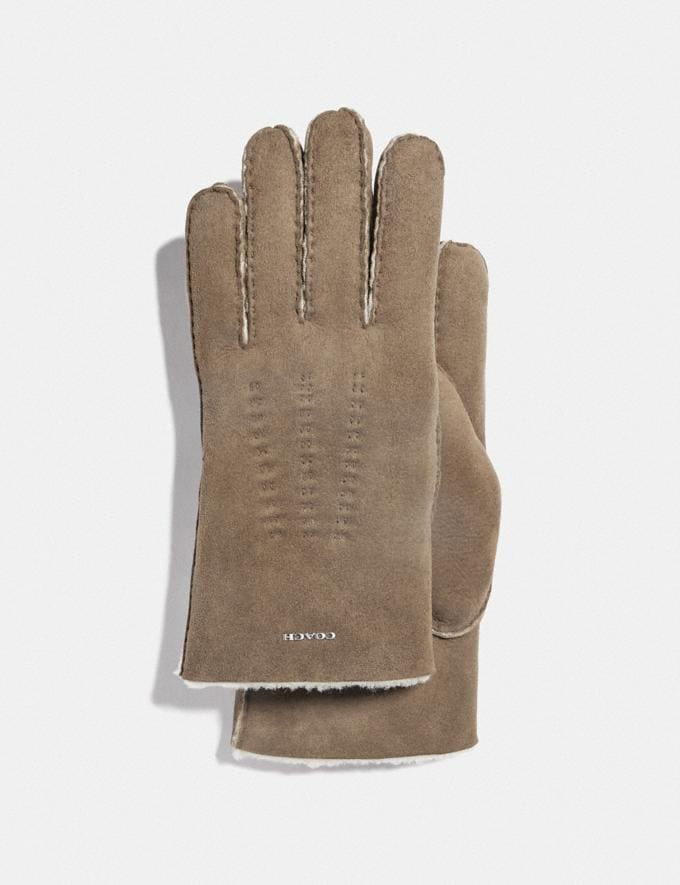 Coach Shearling Gloves Taupe Men Ready-to-Wear Scarves and Gloves