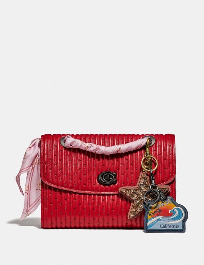Coach Parker With Quilting and Rivets Red Apple/Pewter Women Bags Shoulder Bags Alternate View 3