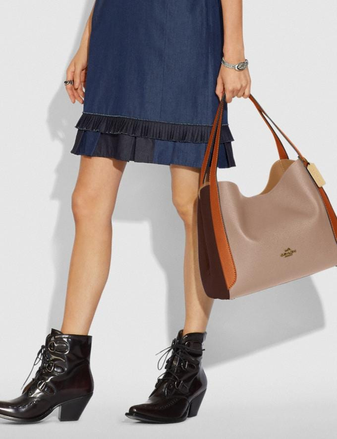 Coach Hadley Hobo in Colorblock Brass/Taupe Ginger Multi Women Edits Work Alternate View 3
