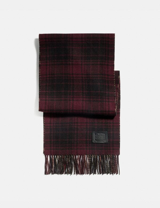 Coach Double Plaid Print Muffler Dark Maroon/Camel SALE Men's Sale Accessories