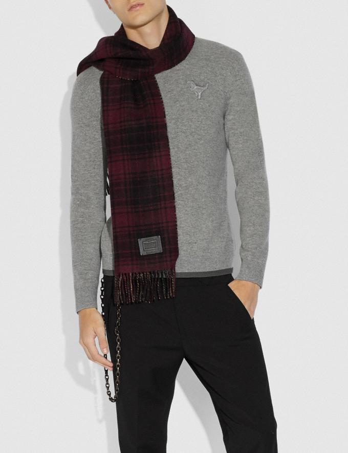 Coach Double Plaid Print Muffler Dark Maroon/Camel SALE Men's Sale Accessories Alternate View 1