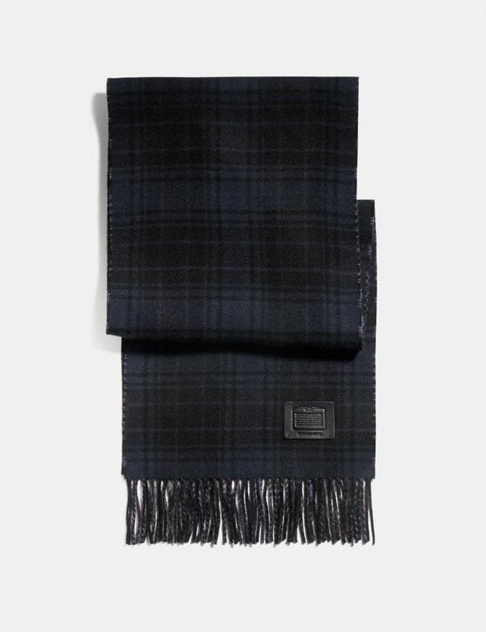 Coach Double Plaid Print Muffler Midnight Navy/Grey Men Accessories Hats, Scarves & Gloves