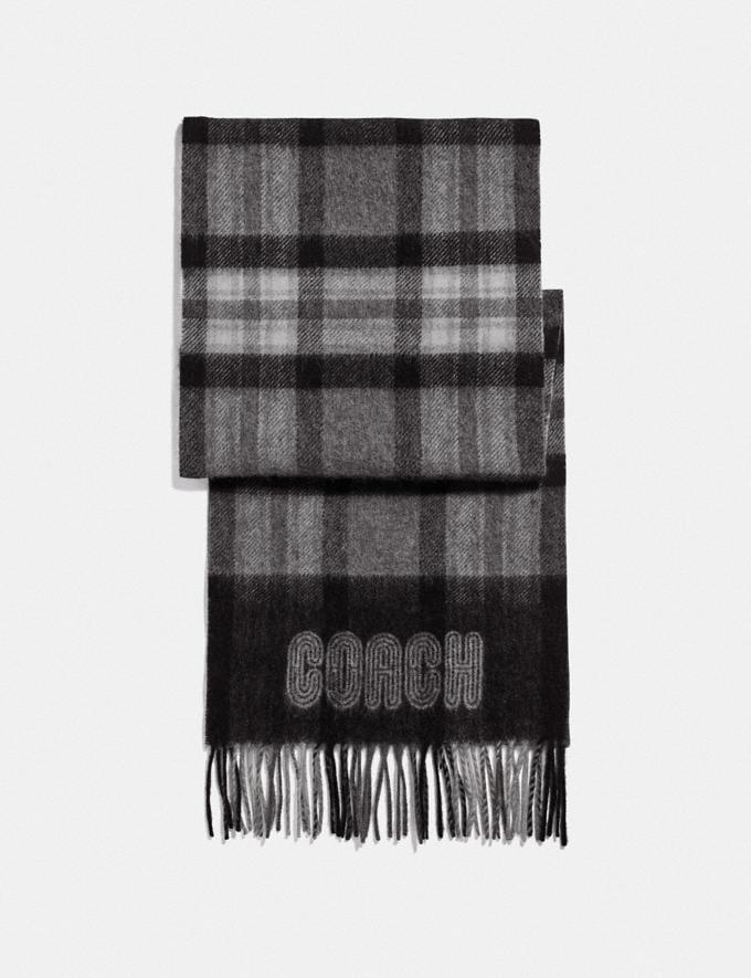 Coach Signature Border Plaid Print Muffler Grey Men Ready-to-Wear Scarves and Gloves