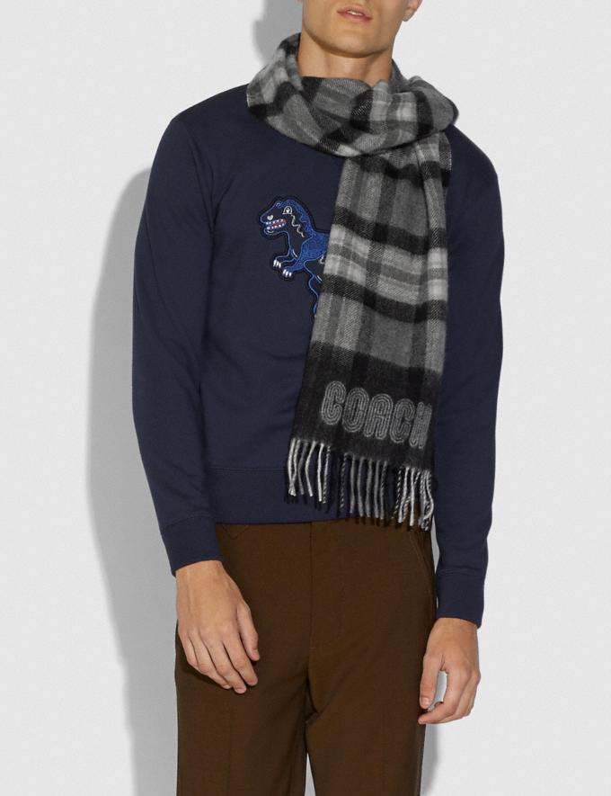 Coach Signature Border Plaid Print Muffler Grey Hombre Prendas Pañuelos y guantes Vistas alternativas 1