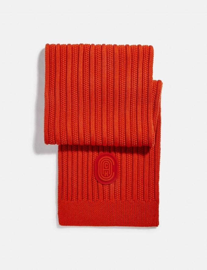 Coach Double Signature Retro Patch Knit Scarf Red Orange Gifts For Him