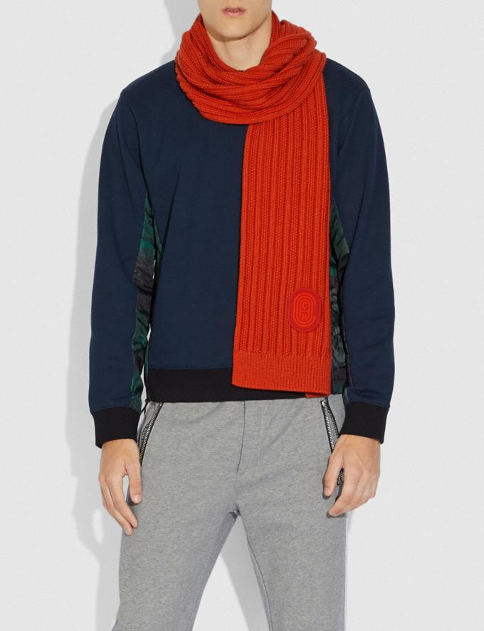 Coach Double Signature Retro Patch Knit Scarf Red Orange SALE Men's Sale Accessories Alternate View 1