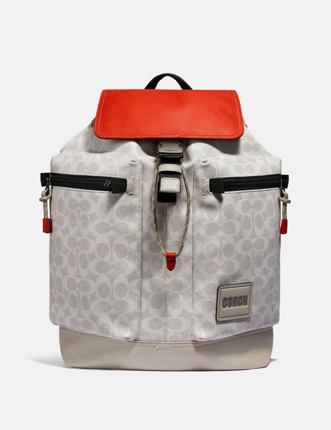 Coach Pacer Utility Backpack in Signature Canvas With Coach Patch Ji/Chalk/Mango New Men's New Arrivals View All