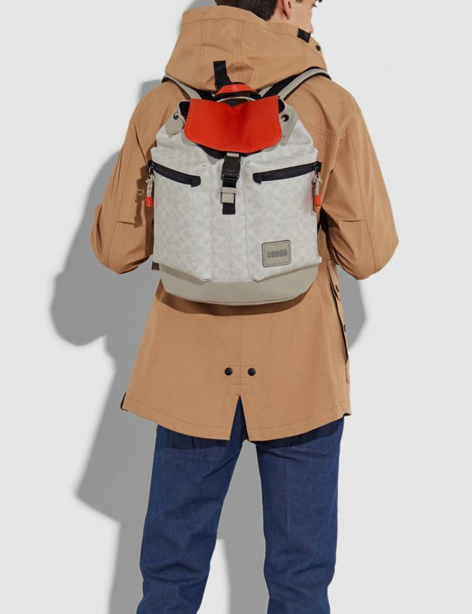 Coach Pacer Utility Backpack in Signature Canvas With Coach Patch Ji/Chalk/Mango Men Bags Backpacks Alternate View 4