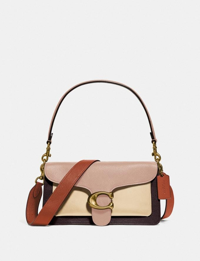 Coach Tabby Shoulder Bag 26 in Colorblock Brass/Taupe Ginger Multi Women Collection Tabby