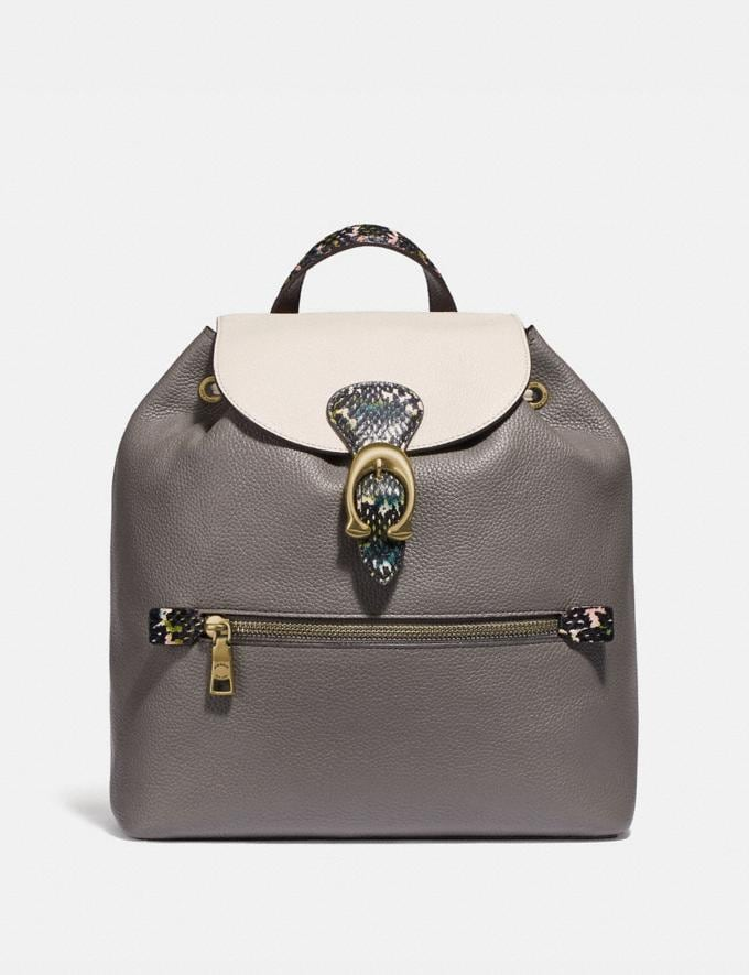 Coach Evie Backpack in Colorblock With Snakeskin Detail Heather Grey Multi/Brass Women Handbags Diaper Bags