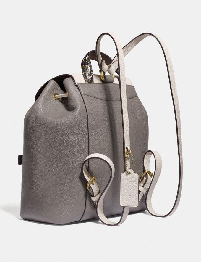 Coach Evie Backpack in Colorblock With Snakeskin Detail Heather Grey Multi/Brass Women Handbags Diaper Bags Alternate View 1
