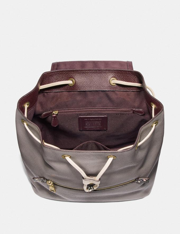 Coach Evie Backpack in Colorblock With Snakeskin Detail Heather Grey Multi/Brass Women Handbags Diaper Bags Alternate View 2
