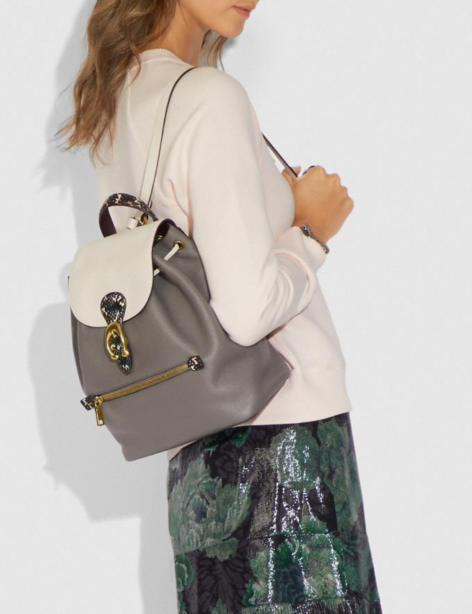 Coach Evie Backpack in Colorblock With Snakeskin Detail Heather Grey Multi/Brass Women Handbags Diaper Bags Alternate View 3