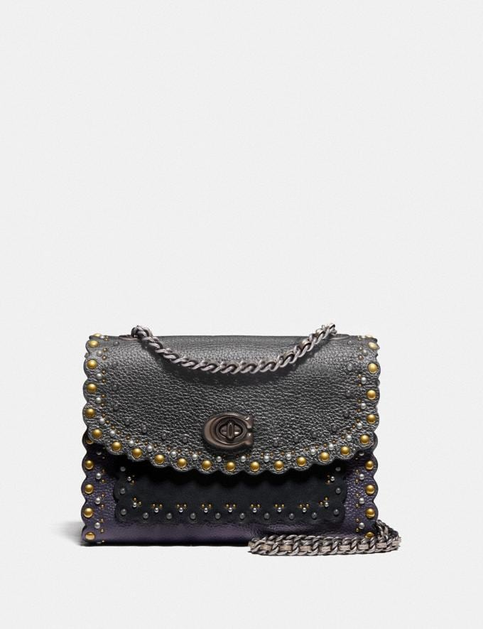 Coach Parker 18 With Scallop Rivets Metallic Eggplant/Pewter Women Collection Parker