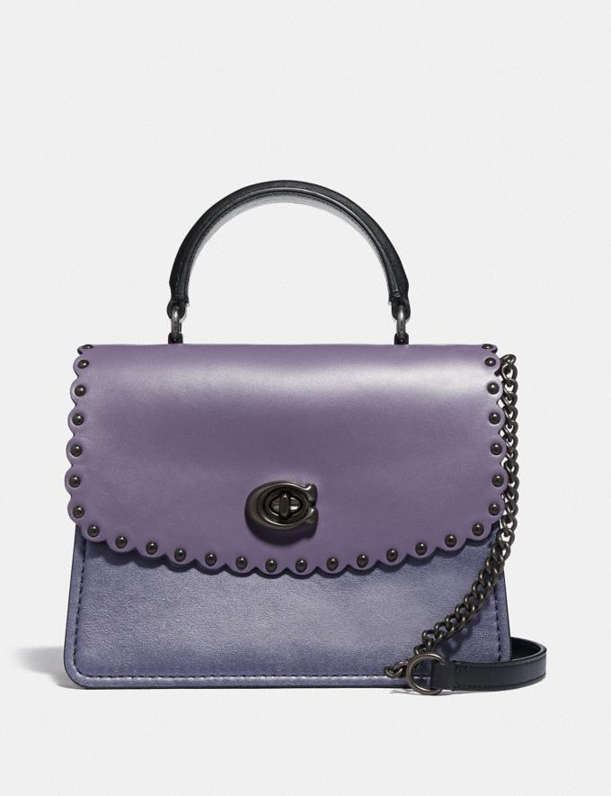 Coach Parker Topo Handle With Scallop Rivets Dusty Lavender Multi/Pewter Women Bags Satchels