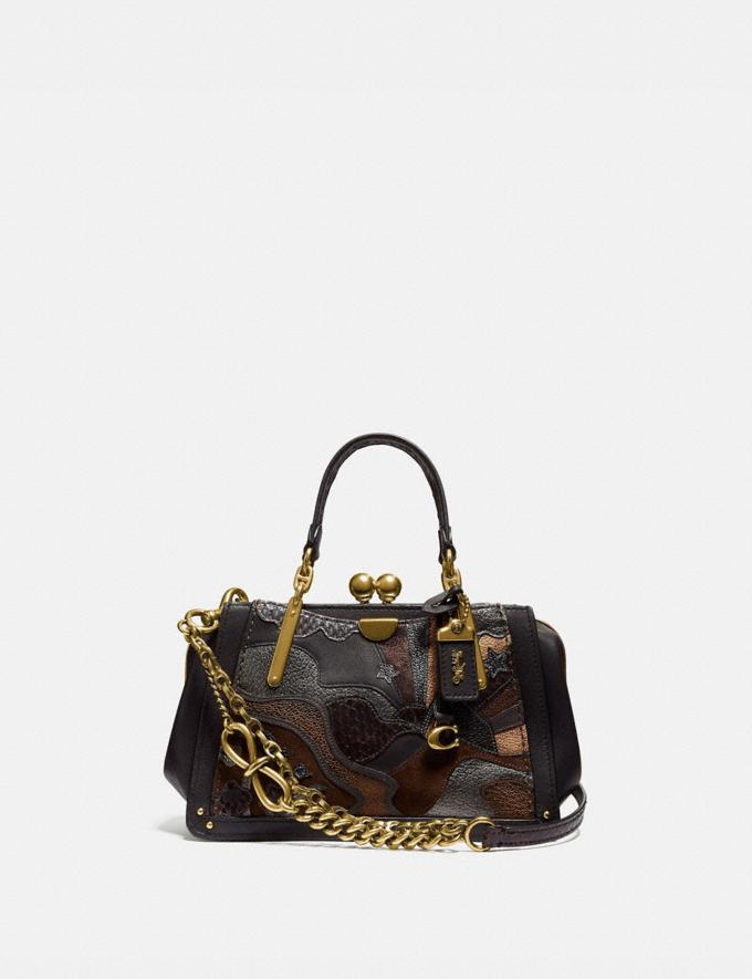 Coach Kisslock Dreamer 21 in Signature Canvas With Starscape Patchwork and Snakeskin Detail Tan Black/Brass New Women's New Arrivals Bags