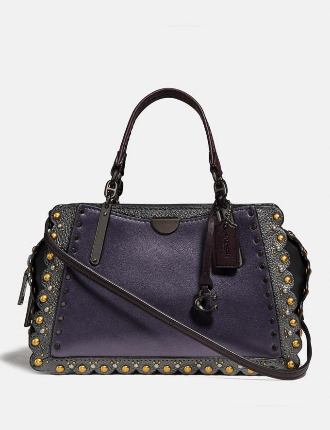 Coach Dreamer 21 With Scallop Rivets Metallic Eggplant/Pewter