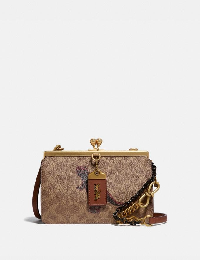 Coach Double Frame Bag 19 in Signature Canvas With Rexy by Sui Jianguo Tan/1941 Saddle/Brass Women Collection Signature