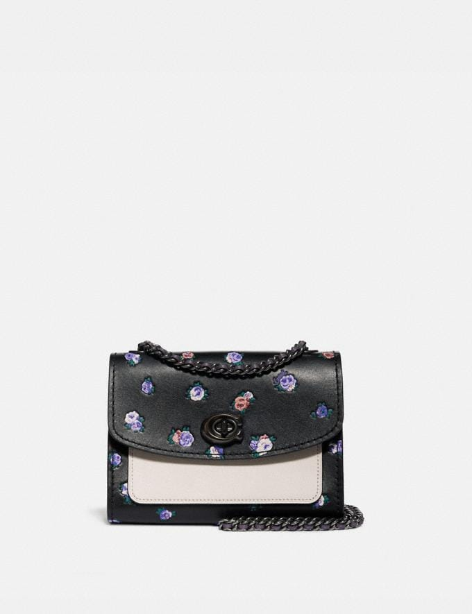 Coach Parker 18 With Vintage Rosebud Print Black Multi/Pewter SALE 30% off Select Styles 30% off