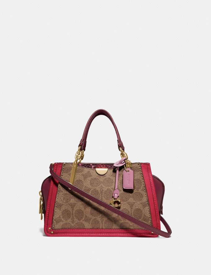 Coach Dreamer 21 in Signature Canvas With Snakeskin Detail Tan Red Apple/Gold Women Handbags Crossbody Bags