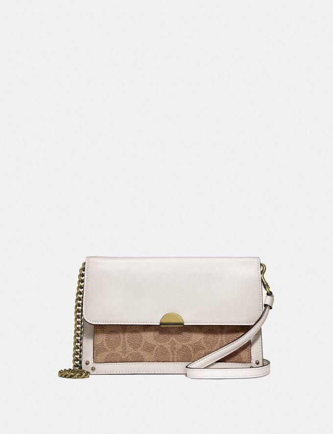 Coach Dreamer Convertible Crossbody in Colorblock Signature Canvas Tan Chalk/Brass Women Small Leather Goods Crossbody Wallets