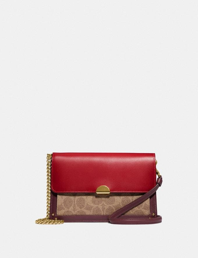 Coach Dreamer Convertible Crossbody in Colorblock Signature Canvas Tan Red Apple/Gold New Featured 30% off (and more)